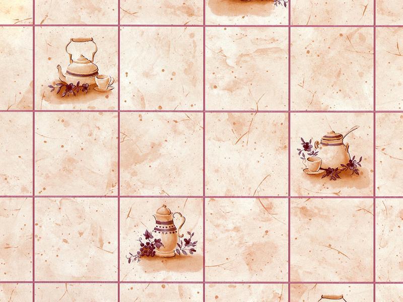 Кафель, чайники бежевый