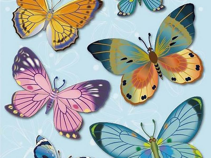 Бабочки разноцветные мини
